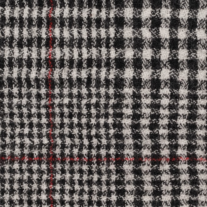 ウール×チェック(オフホワイト&ブラック)×ガーゼ イメージ1