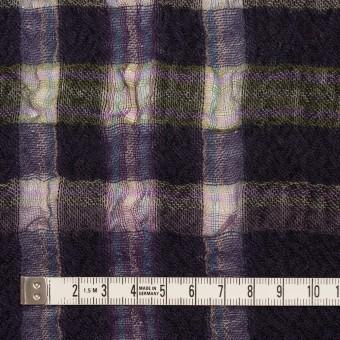ウール&ポリエステル×チェック(ダークパープル)×ガーゼ_全3色 サムネイル4