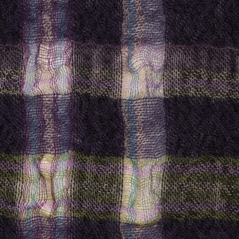 ウール&ポリエステル×チェック(ダークパープル)×ガーゼ_全3色