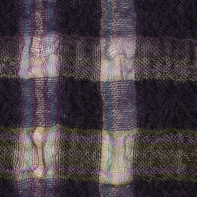 ウール&ポリエステル×チェック(ダークパープル)×ガーゼ_全3色 イメージ1