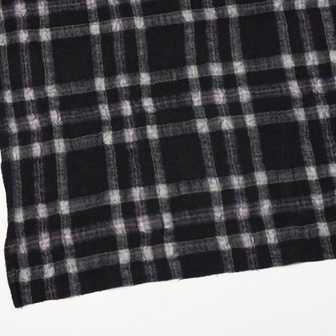 ウール&ポリエステル×チェック(ブラック)×ガーゼ_全3色 イメージ2