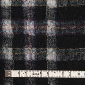 ウール&ポリエステル×チェック(ブラック)×ガーゼ_全3色 サムネイル4