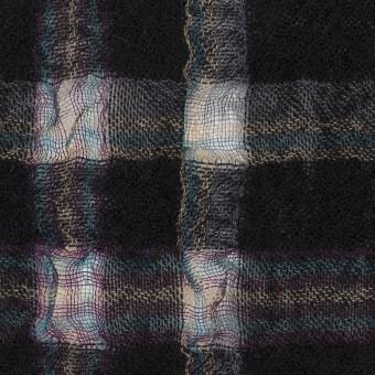 ウール&ポリエステル×チェック(ブラック)×ガーゼ_全3色