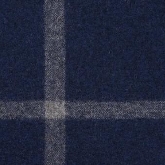 ウール×チェック(ミッドナイトブルー&グレー)×フラノ(フランネル) サムネイル1