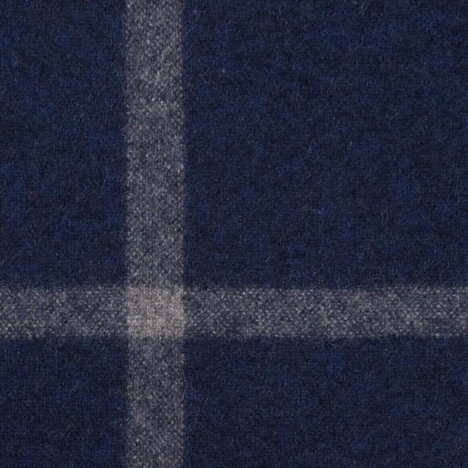 ウール×チェック(ミッドナイトブルー&グレー)×フラノ(フランネル) イメージ1