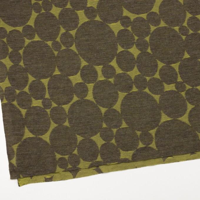 ウール&ポリエステル×オーバル(イエローグリーン&カーキ)×Wニットジャガード イメージ2