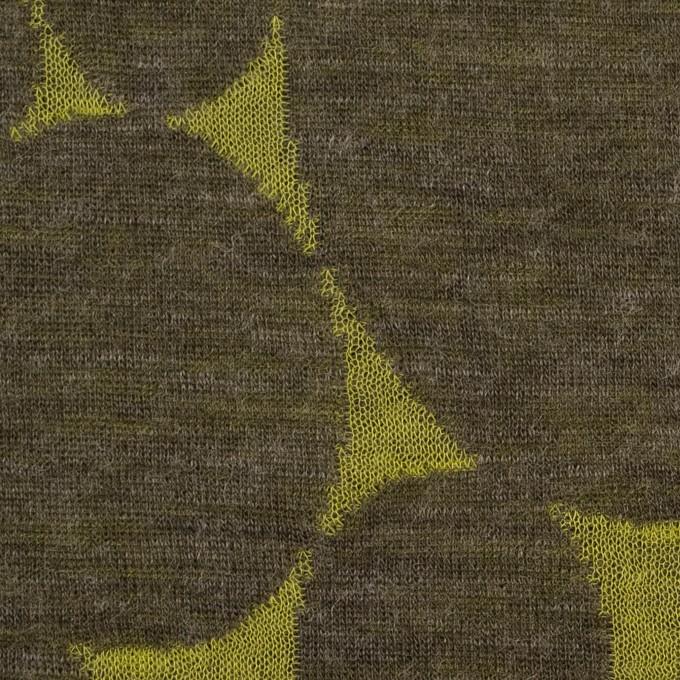 ウール&ポリエステル×オーバル(イエローグリーン&カーキ)×Wニットジャガード イメージ1