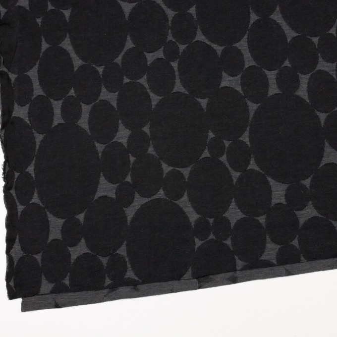 ウール&ポリエステル×オーバル(チャコールグレー&ブラック)×Wニットジャガード イメージ2