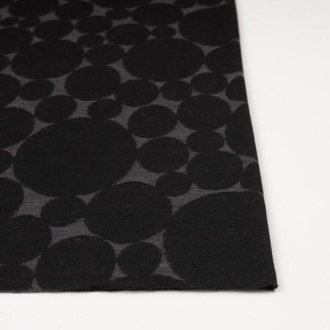 ウール&ポリエステル×オーバル(チャコールグレー&ブラック)×Wニットジャガード イメージ3