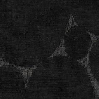 ウール&ポリエステル×オーバル(チャコールグレー&ブラック)×Wニットジャガード