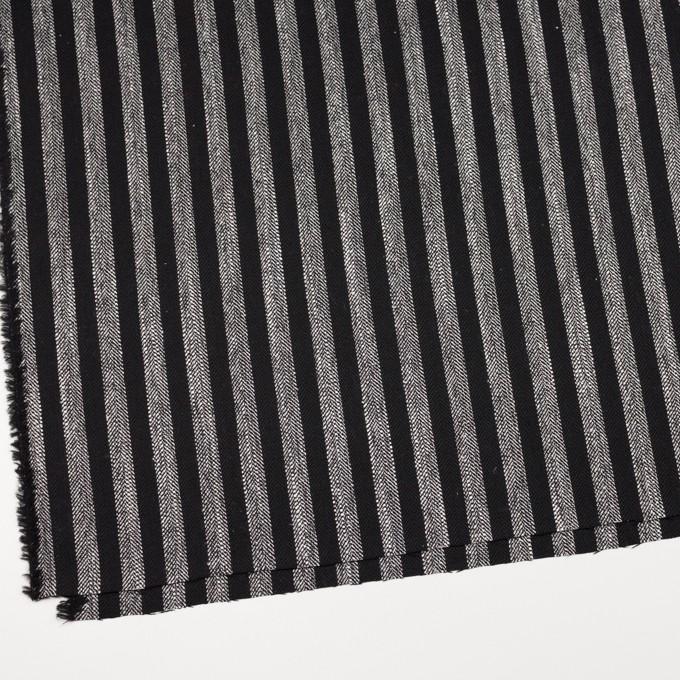ウール&テンセル混×ストライプ(シルバーグレー&ブラック)×ヘリンボーン イメージ2