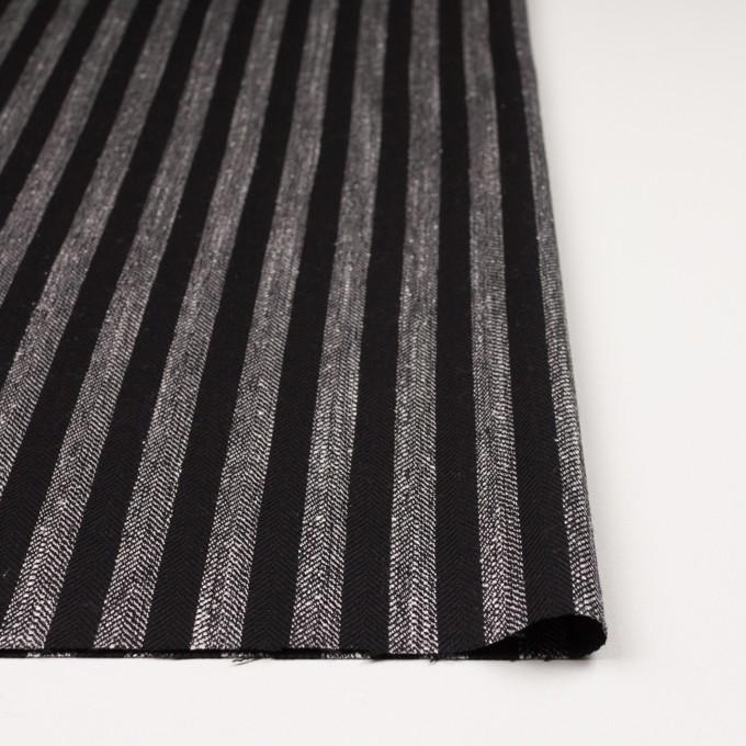 ウール&テンセル混×ストライプ(シルバーグレー&ブラック)×ヘリンボーン イメージ3