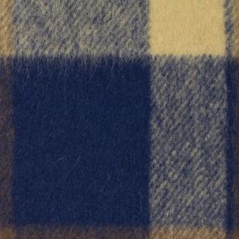 ウール&ナイロン×チェック(カスタード&ブラウン)×フラノ(フランネル)