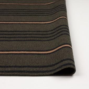 ウール&コットン×ボーダー(ウォームベージュ、ブラック&カーキグリーン)×かわり織 サムネイル3