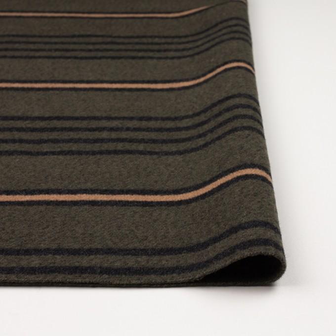 ウール&コットン×ボーダー(ウォームベージュ、ブラック&カーキグリーン)×かわり織 イメージ3