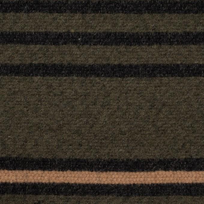 ウール&コットン×ボーダー(ウォームベージュ、ブラック&カーキグリーン)×かわり織 イメージ1