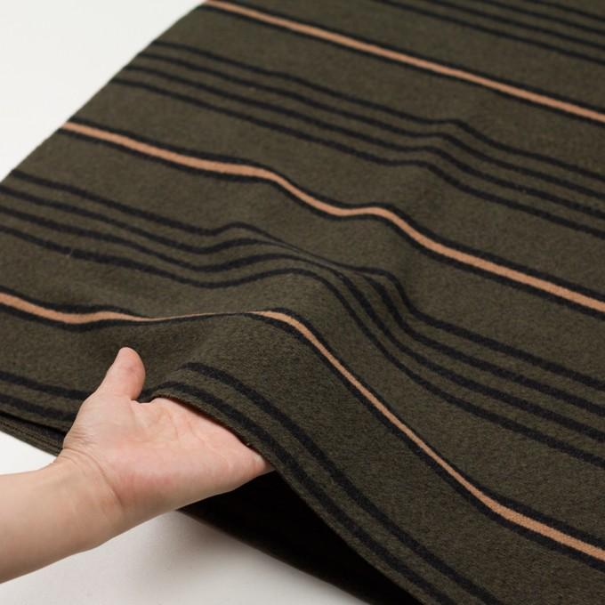 ウール&コットン×ボーダー(ウォームベージュ、ブラック&カーキグリーン)×かわり織 イメージ5