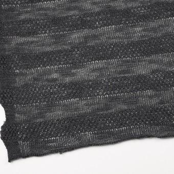 コットン&ウール×ボーダー(チャコールグレー)×かわり編みニット サムネイル2