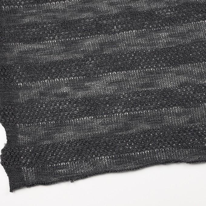 コットン&ウール×ボーダー(チャコールグレー)×かわり編みニット イメージ2