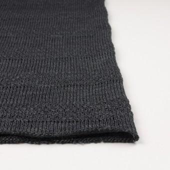 コットン&ウール×ボーダー(チャコールグレー)×かわり編みニット サムネイル3