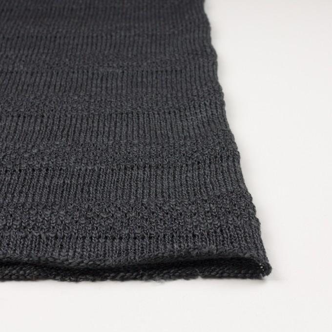 コットン&ウール×ボーダー(チャコールグレー)×かわり編みニット イメージ3
