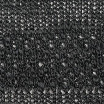 コットン&ウール×ボーダー(チャコールグレー)×かわり編みニット