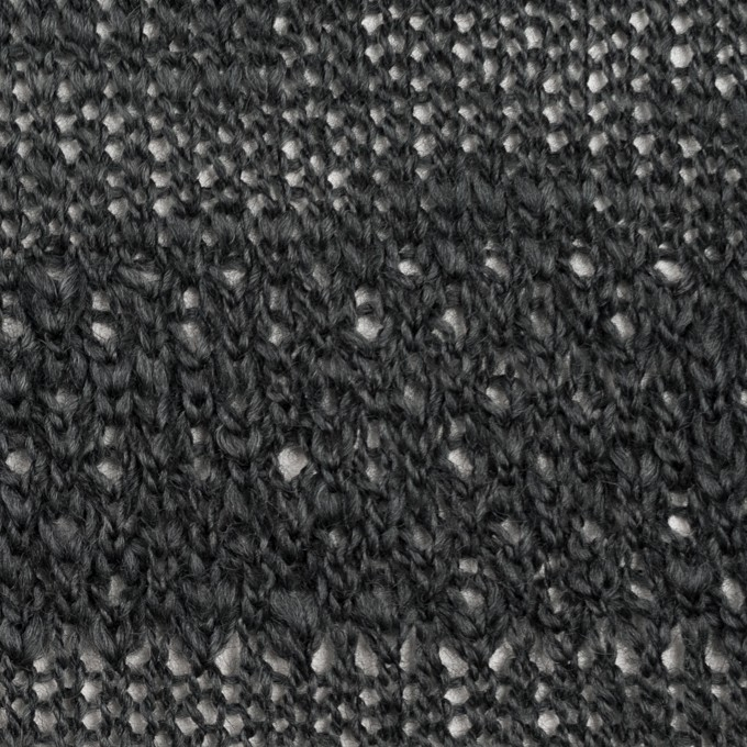 コットン&ウール×ボーダー(チャコールグレー)×かわり編みニット イメージ1