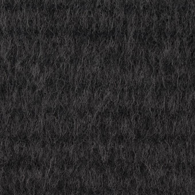 ウール&アクリル混×無地(チャコールグレー)×シャギー イメージ1