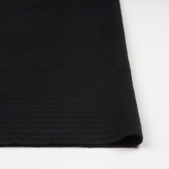 ウール&アクリル混×無地(ブラック)×シャギー イメージ3