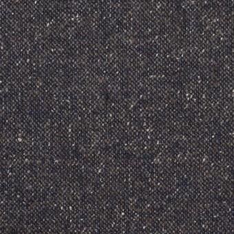 ウール&ポリエステル混×無地(アイアンネイビー)×ツイードストレッチ_全2色_イタリア製