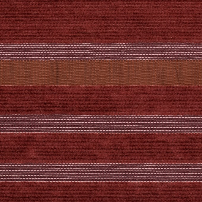 アクリル&ポリエステル混×ボーダー(ガーネット)×ジャガード(裏芯貼り)_イタリア製_パネル イメージ1