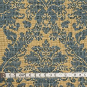 レーヨン&コットン混×幾何学模様(バナナ&ブルーグレー)×ジャガード_イングランド製 サムネイル4