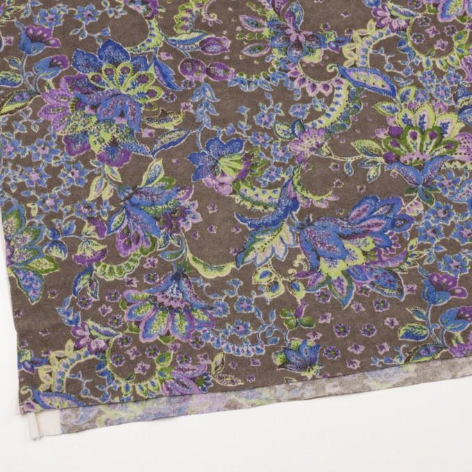 ウール&ナイロン混×更紗(パープル、グリーン&アッシュグレー)×天竺ニット イメージ2