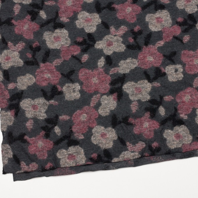 ウール×フラワー(ピンク&チャコールグレー)×ジャガードニット イメージ2
