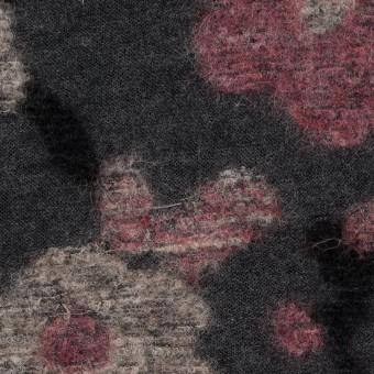 ウール×フラワー(ピンク&チャコールグレー)×ジャガードニット サムネイル1