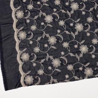 ポリエステル×フラワー(ダークネイビー&キナリ)×ジョーゼット刺繍 サムネイル2