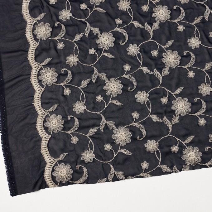 ポリエステル×フラワー(ダークネイビー&キナリ)×ジョーゼット刺繍 イメージ2
