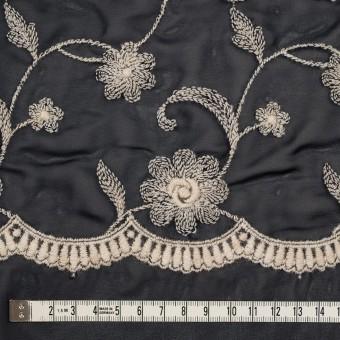 ポリエステル×フラワー(ダークネイビー&キナリ)×ジョーゼット刺繍 サムネイル4