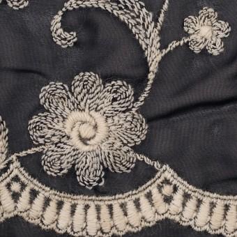 ポリエステル×フラワー(ダークネイビー&キナリ)×ジョーゼット刺繍 サムネイル1