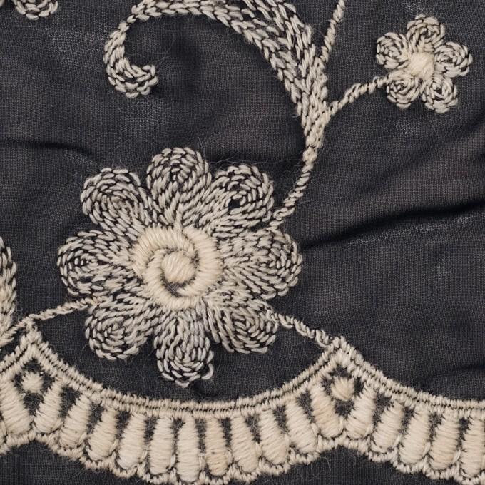ポリエステル×フラワー(ダークネイビー&キナリ)×ジョーゼット刺繍 イメージ1