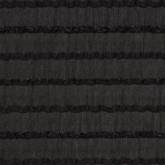 ポリエステル×ボーダー(ブラック)×ピンタックジョーゼット