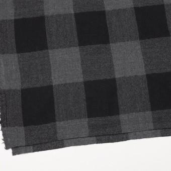 ウール×チェック(チャコールグレー&ブラック)×ガーゼ_全3色 サムネイル2