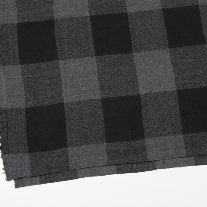 ウール×チェック(チャコールグレー&ブラック)×ガーゼ_全3色 イメージ2