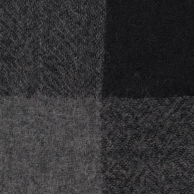 ウール×チェック(チャコールグレー&ブラック)×ガーゼ_全3色 イメージ1