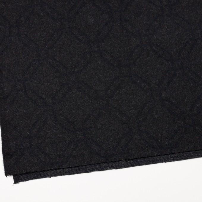 ウール&コットン×幾何学模様(チャコール)×二重織ジャガード イメージ2