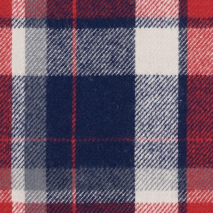 コットン×チェック(アイボリー、レッド&ネイビー)×ビエラ イメージ1