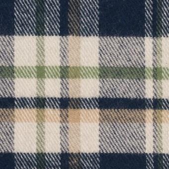 コットン×チェック(グリーン、ダークネイビー&キナリ)×ビエラ サムネイル1