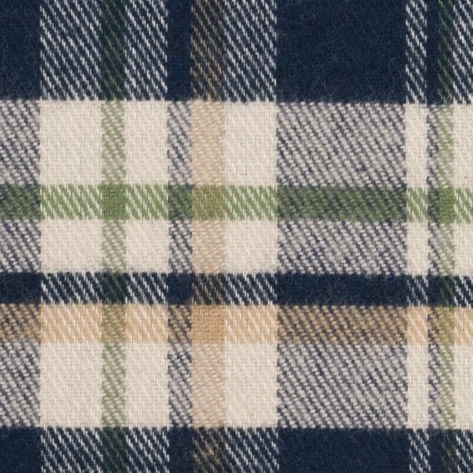 コットン×チェック(グリーン、ダークネイビー&キナリ)×ビエラ イメージ1