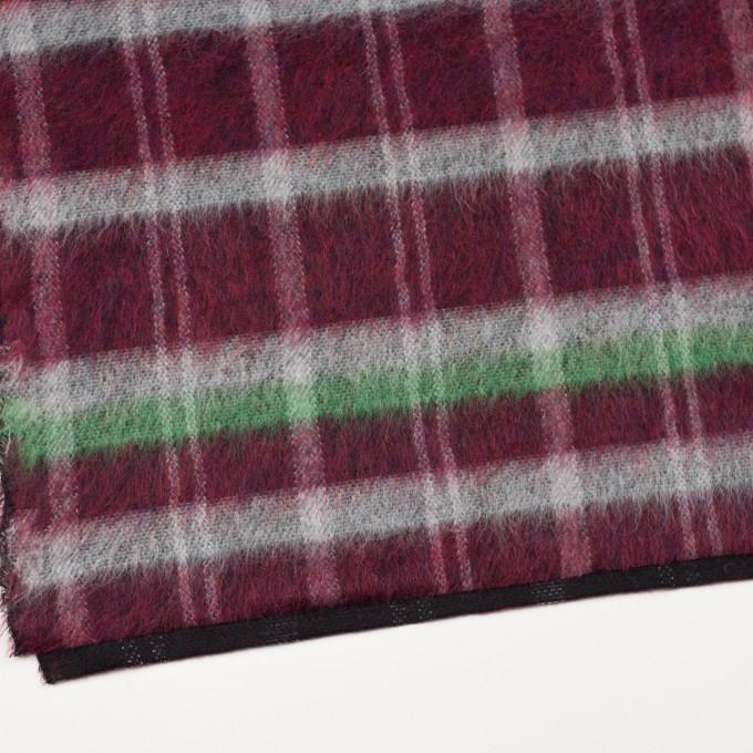 ポリエステル&ウール混×チェック(オフホワイト、グリーン&ガーネット)×シャギーニット_パネル イメージ2