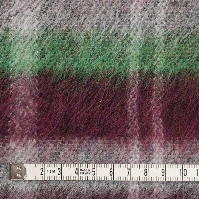 ポリエステル&ウール混×チェック(オフホワイト、グリーン&ガーネット)×シャギーニット_パネル イメージ4